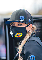 Oct 4, 2020; Madison, Illinois, USA; NHRA top fuel driver Leah Pruett during the Midwest Nationals at World Wide Technology Raceway. Mandatory Credit: Mark J. Rebilas-USA TODAY Sports