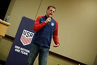 Bradenton, FL : Dave Van Der Bergh speaks to US Soccer athletes during a presentation in Bradenton, Fla., on January 4, 2018. (Photo by Casey Brooke Lawson)