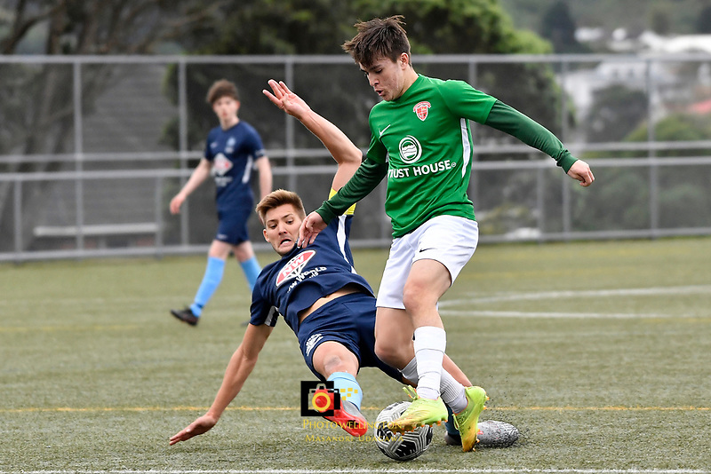 Jonty Roubos of the Wairarapa United competes for the ball with Cory Vickers of the North Wellington FC during the Central League Football -  North Wellington FC v Wairarapa United at Alex Moore Park ( Alex Moore Artificial), Johnsonville, New Zealand on Saturday 29 May 2021.<br /> Copyright photo: Masanori Udagawa /  www.photosport.nz