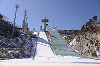 The ski jump at the Alpensia Resort. It is located on the territory of the township of Daegwallyeong-myeon, in the county of Pyeongchang.  Alpensia Resort will host some events  for the 2018 Winter Olympics and 2018 Winter Paralympics in Pyeongchang.
