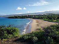 A hilltop view of Hapuna State Beach Park on the Big Island of Hawaii.