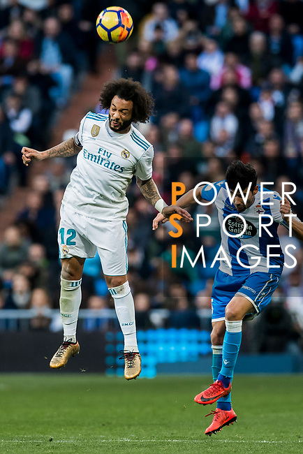 Marcelo Vieira Da Silva of Real Madrid heads the ball during the La Liga 2017-18 match between Real Madrid and RC Deportivo La Coruna at Santiago Bernabeu Stadium on January 21 2018 in Madrid, Spain. Photo by Diego Gonzalez / Power Sport Images