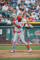 Adolis Garcia (32) of the Memphis Redbirds bats against the Salt Lake Bees at Smith's Ballpark on July 24, 2018 in Salt Lake City, Utah. Memphis defeated Salt Lake 14-4. (Stephen Smith/Four Seam Images)