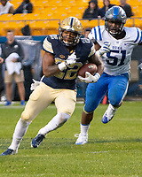 Pitt running back Darrin Hall. The Pitt Panthers football team defeated the Duke Blue Devils 54-45 on November 10, 2018 at Heinz Field, Pittsburgh, Pennsylvania.
