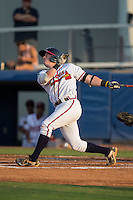 Matt Gonzalez (1) of the Danville Braves follows through on his swing against the Pulaski Yankees at American Legion Post 325 Field on August 1, 2016 in Danville, Virginia.  The Yankees defeated the Braves 4-1.  (Brian Westerholt/Four Seam Images)
