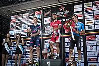 Champagne shower. Podium:<br /> <br /> 1st place: Nacer Bouhanni (FRA/Cofidis)<br /> 2nd place: Cees Bol (NED/SEG Racing Academy)<br /> 3th place: Dries De Bondt (BEL/Veranda's Willems-Crelan)<br /> <br /> <br /> GP Marcel Kint 2018 <br /> Kortrijk > Zwevegem 174.8km (BELGIUM)
