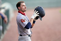 Third baseman Connor Hollis (1) of the Bowling Green Hot Rods during a game against the Greenville Drive on Wednesday, May 5, 2021, at Fluor Field at the West End in Greenville, South Carolina. (Tom Priddy/Four Seam Images)