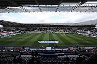 Pictured: Interior view of the stadium with the new LED screens. Saturday 23 August 2014<br />