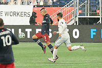 FOXBOROUGH, MA - NOVEMBER 1: Gustavo Bou #7 of New England Revolution takes a shot at the DC United goal during a game between D.C. United and New England Revolution at Gillette Stadium on November 1, 2020 in Foxborough, Massachusetts.