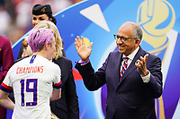 LYON, FRANCE - JULY 07: Megan Rapinoe #15, Carlos Cordeiro after the 2019 FIFA Women's World Cup France final match between the Netherlands and the United States at Stade de Lyon on July 07, 2019 in Lyon, France.