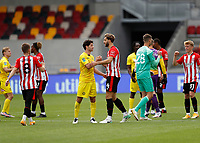 6th September 2020; Brentford Community Stadium, London, England; English Football League Cup, Carabao Cup, Football, Brentford FC versus Wycombe Wanderers; Joe Jacobson of Wycombe Wanderers congratulates Charlie Goode of Brentford after the final whistle