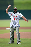 Dr. Richard R. Rolle, Jr. throws out a ceremonial first pitch prior to the South Atlantic League game between the West Virginia Power and the Kannapolis Intimidators at Kannapolis Intimidators Stadium on June 17, 2017 in Kannapolis, North Carolina.  The Power defeated the Intimidators 6-1.  (Brian Westerholt/Four Seam Images)