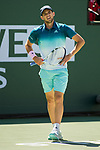 March 16, 2019: Dominic Thiem (AUT) in action where he defeated Milos Raonic (CAN) 7-6, 6-7, 6-4 in the semifinals at the BNP Paribas Open at the Indian Wells Tennis Garden in Indian Wells, California. ©Mal Taam/TennisClix/CSM