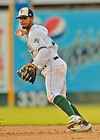 19 July 2012: Vermont Lake Monsters infielder Wilfredo Solano in action against the Tri-City ValleyCats at Centennial Field in Burlington, Vermont. The ValleyCats defeated the Lake Monsters 6-3 in NY Penn League action. Mandatory Credit: Ed Wolfstein Photo
