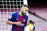 Jordi Alba Ramos of FC Barcelona reacts during the La Liga 2017-18 match between FC Barcelona and Las Palmas at Camp Nou on 01 October 2017 in Barcelona, Spain. (Photo by Vicens Gimenez / Power Sport Images