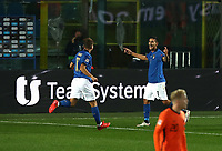 Football: Uefa Nations League Group A match Italy vs Netherlands at Gewiss stadium in Bergamo, on October 14, 2020.<br /> Italy's Lorenzo Pellegrini (r) celebrates after scoring with his teammate Ciro Immobile (l) during the Uefa Nations League match between Italy and Netherlands at Gewiss stadium in Bergamo, on October 14, 2020. <br /> UPDATE IMAGES PRESS/Isabella Bonotto