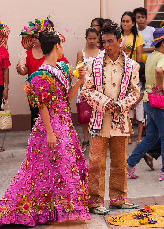 Student winners wore costumes made from buri in the parade that opened Sampaloc's Bulihan Festival in April 2012.  (Sampaloc, Quezon Province, the Philippines.)