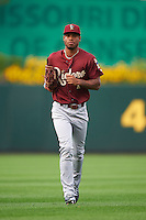 Frisco RoughRiders outfielder Nick Williams (1) jogs to the dugout during a game against the Springfield Cardinals on June 3, 2015 at Hammons Field in Springfield, Missouri.  Springfield defeated Frisco 7-2.  (Mike Janes/Four Seam Images)