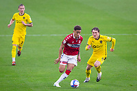 3rd October 2020; Riverside Stadium, Middlesbrough, Cleveland, England; English Football League Championship Football, Middlesbrough versus Barnsley; Marcus Tavernier of Middlesbrough FC on the ball watched by Callum Styles and Marcel Ritzmaier of Barnsley FC