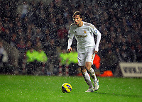 Saturday, 03 November 2012<br /> Pictured: Michu of Swansea in hail storm<br /> Re: Barclays Premier League, Swansea City FC v Chelsea at the Liberty Stadium, south Wales.