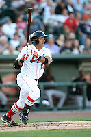Great Lakes Loons Angelo Songco at Dow Diamond in Midland, MI. The Loons are the Midwest League affiliate of the Los Angeles Dodgers. July 8, 2010. Photo By Chris Proctor/Four Seam Images