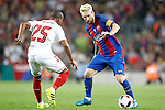 FC Barcelona's Leo Messi (r) and Sevilla FC's Mariano Ferreira during Supercup of Spain 2nd match.August 17,2016. (ALTERPHOTOS/Acero)