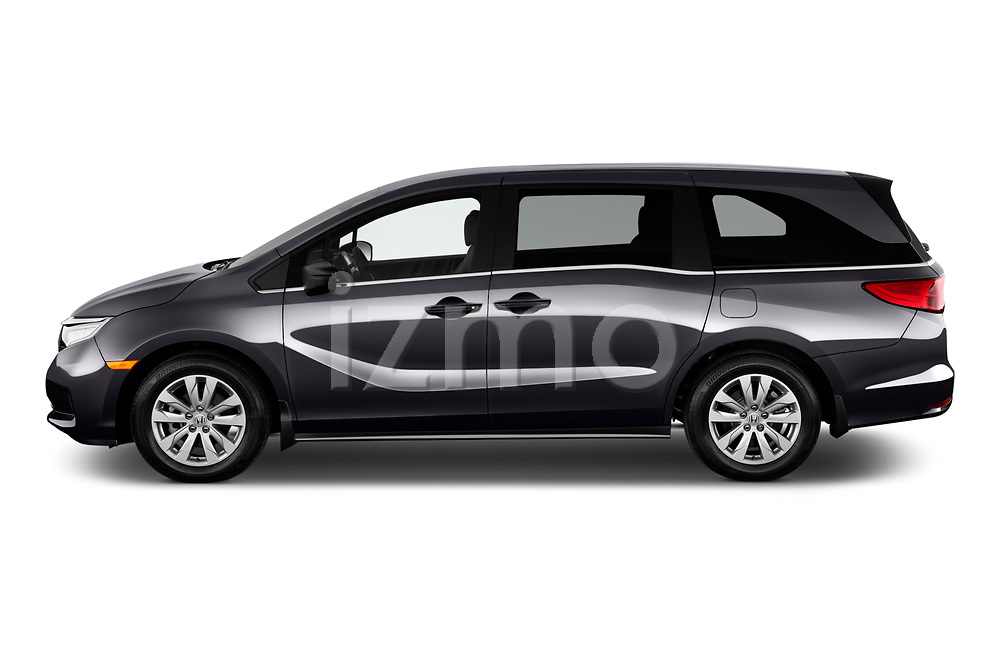 Car Driver side profile view of a 2021 Honda Odyssey LX 5 Door Minivan Side View