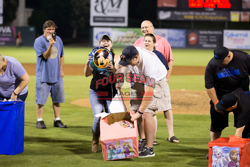 The Kannapolis Intimidators gave away a $2,500 vacation to Walt Disney World following their game against the West Virginia Power at Kannapolis Intimidators Stadium on June 17, 2017 in Kannapolis, North Carolina.  The Power defeated the Intimidators 6-1.  (Brian Westerholt/Four Seam Images)