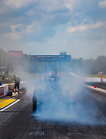Jul 10, 2020; Clermont, Indiana, USA; NHRA top fuel driver Leah Pruett during testing for the Lucas Oil Nationals at Lucas Oil Raceway. This will be the first race back for NHRA since the COVID-19 pandemic. Mandatory Credit: Mark J. Rebilas-USA TODAY Sports