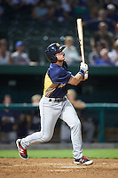 Burlington Bees shortstop Connor Justus (9) at bat during a game against the South Bend Cubs on July 22, 2016 at Four Winds Field in South Bend, Indiana.  South Bend defeated Burlington 4-3.  (Mike Janes/Four Seam Images)