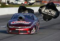 May 17, 2014; Commerce, GA, USA; NHRA pro stock driver Greg Anderson during qualifying for the Southern Nationals at Atlanta Dragway. Mandatory Credit: Mark J. Rebilas-USA TODAY Sports