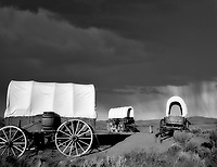 F00158M.tiff   Covered wagons at Oregon Trail Interpretive Center. Near Baker City, Oregon