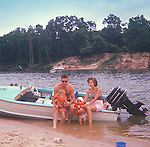 James Wild family 1967. San Jacinto River boat outing, Houston, Texas.