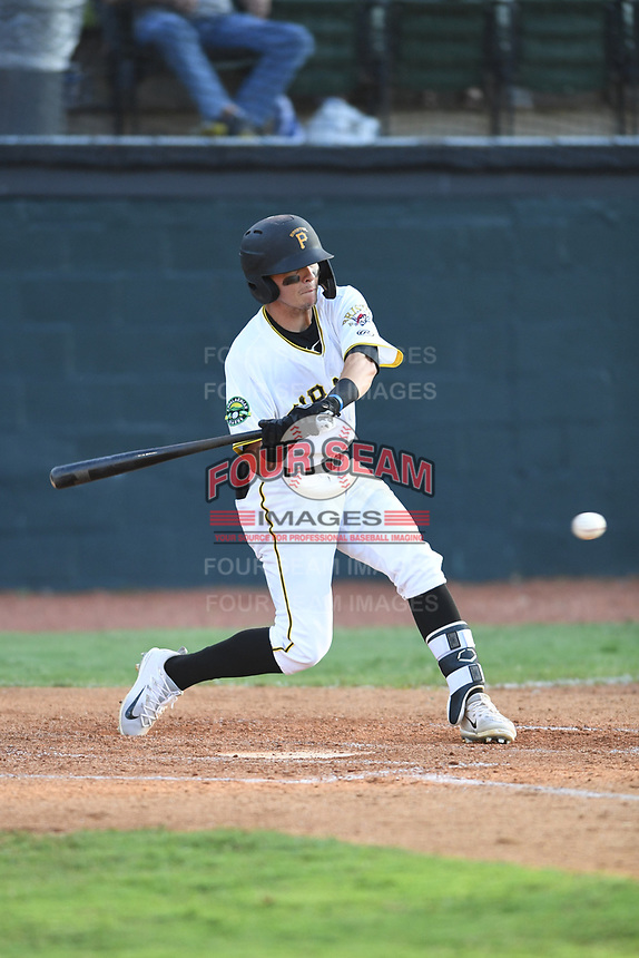 Bristol Pirates Josh Bissonette (14) bats against the Pulaski Yankees at Boyce Cox Field on July 8, 2019 in Bristol, Virginia. The Yankees defeated the Pirates 5-0. (Tracy Proffitt/Four Seam Images)