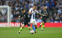Manchester City's David Silva and Brighton & Hove Albion's Anthony Knockaert<br /> <br /> Photographer Rob Newell/CameraSport<br /> <br /> Emirates FA Cup Semi-Final - Manchester City v Brighton & Hove Allbion - Saturday 6th April 2019 - Wembley Stadium - London<br />  <br /> World Copyright © 2019 CameraSport. All rights reserved. 43 Linden Ave. Countesthorpe. Leicester. England. LE8 5PG - Tel: +44 (0) 116 277 4147 - admin@camerasport.com - www.camerasport.com