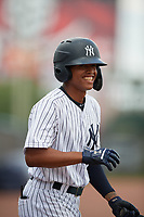 GCL Yankees East Miguel Marte (1) during a Gulf Coast League game against the GCL Phillies East on July 31, 2019 at Yankees Minor League Complex in Tampa, Florida.  GCL Phillies East defeated the GCL Yankees East 4-3 in the second game of a doubleheader.  (Mike Janes/Four Seam Images)