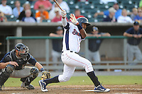 The Tennessee Smokies pinch hitter Nelson Perez #11 swings at a pitch during game four of the Southern League Championship Series between the Mobile Bay Bears and the Tennessee Smokies at Smokies Park on September 18, 2011 in Kodak, Tennessee.  The BayBears won the Southern League Championship 6-4.  (Tony Farlow/Four Seam Images)