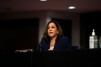 United States Senator Kamala Harris (Democrat of California), speaks during a US Senate Judiciary Committee business meeting to consider authorization for subpoenas relating to the Crossfire Hurricane investigation, and other matters on Capitol Hill in Washington, Thursday, June 11, 2020. <br /> Credit: Carolyn Kaster / Pool via CNP/AdMedia