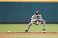 Vanderbilt Commodores shortstop Dansby Swanson (7) fields a ground ball during the NCAA College baseball World Series against the TCU Horned Frogs on June 16, 2015 at TD Ameritrade Park in Omaha, Nebraska. Vanderbilt defeated TCU 1-0. (Andrew Woolley/Four Seam Images)