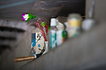 © Joel Goodman - 07973 332324 . 30/04/2017 . Salford, UK . Possessions placed on a concrete ledge along the towpath . Homeless men are living in a towpath tunnel in Saford , in the shadow of the Ordsall Chord railway link and a large , Chinese-backed housing development. Photo credit : Joel Goodman