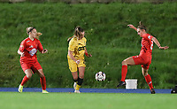 Woluwe's Estelle Peron (L) , Standard's Davinia Vanmechelen (M) and Woluwe's Sheila Broos (R) in action during a female soccer game between FC Femina WS Woluwe and Standard Femina de Liege on the fourth match day of the 2020 - 2021 season of Belgian Womens Super League , Friday 8th of October 2020  in Liege , Belgium . PHOTO SPORTPIX.BE   SPP   SEVIL OKTEM