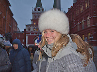 Moskou, Russia, Februari 3, 2016,  Fed Cup Russia-Netherlands,  Red Square, Dutch players trying fur bonnets, Cindy Burger<br /> Photo: Tennisimages/Henk Koster