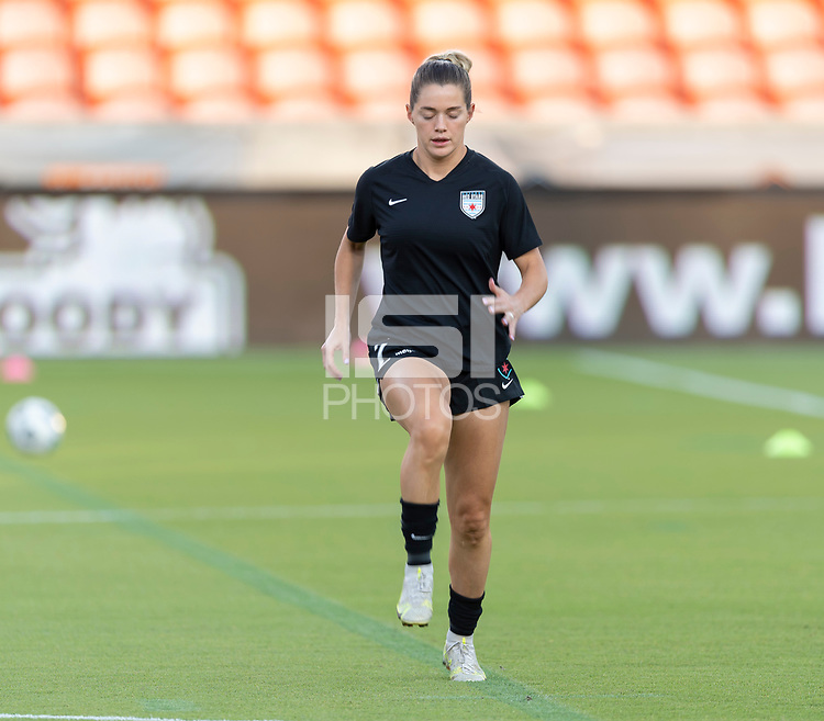 HOUSTON, TX - SEPTEMBER 10: Kealia Watt #2 of the Chicago Red Stars warming up before a game between Chicago Red Stars and Houston Dash at BBVA Stadium on September 10, 2021 in Houston, Texas.