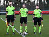 Linesman Bryan Bijnens, referee Caroline Janssens and lineswoman Ella De Vries at the line up before during a female soccer game between Standard Femina de Liege and Sporting Charleroi on the 16th matchday of the 2020 - 2021 season of Belgian Scooore Womens Super League , saturday 13 th of February 2021  in Angleur , Belgium . PHOTO SPORTPIX.BE | SPP | SEVIL OKTEM