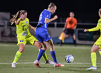 Lisa Petry (9) of KRC Genk battles for the ball with Raquel Viaene (15) of AA Gent pictured during a female soccer game between  Racing Genk Ladies and AA Gent Ladies ,  on the 6 th  matchday of the 2021-2022 season of the Belgian Scooore Womens Super League , friday 8 october 2021  in Genk , Belgium . PHOTO SPORTPIX | JILL DELSAUX