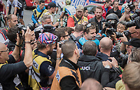 post-finish chaos as Peter Sagan (SVK/Bora-Hansgrohe) crowns himself World Champion for the 3rd (unprecedented) successive time <br /> <br /> Men Elite Road Race<br /> <br /> UCI 2017 Road World Championships - Bergen/Norway