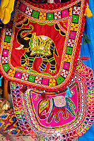 India, Gujarat, Bhuj. Bags for sale in the market.