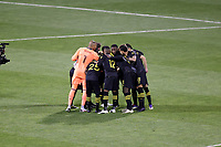 COLUMBUS, OH - DECEMBER 12: The Columbus Crew Starting XI huddle on the field before a game between Seattle Sounders FC and Columbus Crew at MAPFRE Stadium on December 12, 2020 in Columbus, Ohio.