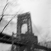Blurred view of George Washington bridge<br />