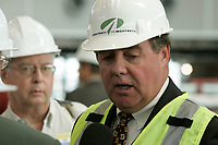 James Cherry, Director , Aeroport de Montreal (ADM) visit the site<br />  of the new terminal at YUL-Montreal-Trudeau (formely Dorval) Airport, September 2004.<br /> <br /> photo : (c)  Images Distribution